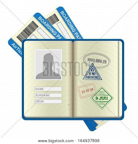 An open foreign passport and airline tickets vector icon. Holiday and vocation concept