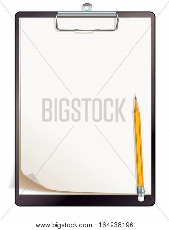 Black clipboard with blank sheets of paper. Top view. Vector illustration. Isolated on white background