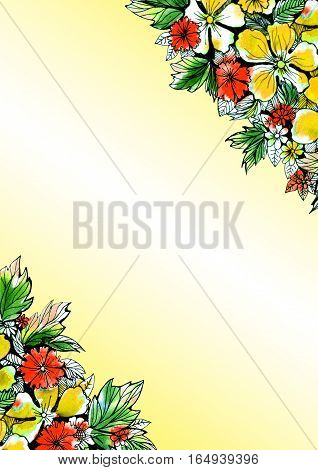 beautiful watercolor floral background for greeting cards