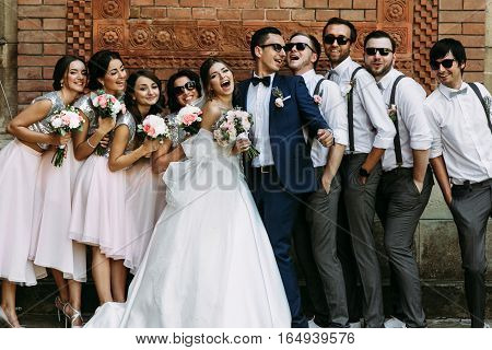 Joyful moment on the wedding of the young couple poster