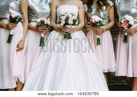 Bouquets Of The Bride And Her Bridesmaids