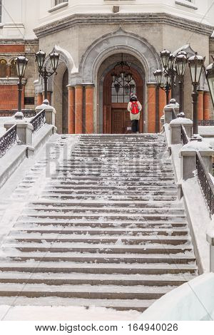 staircase leading to the temple in winter
