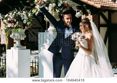 Amazing just married couple after wedding ceremony