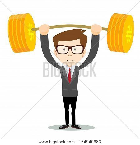 businessman lifts up heavy barbell with dollar sign. Vector illustration for business financial strength concept.