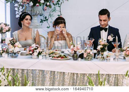 Bride Is Crying On The Wedding Celebration