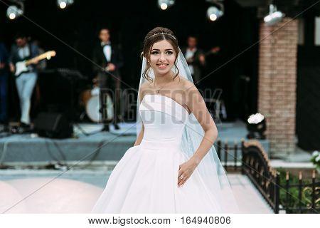 Amazing bride on the wedding celebration on the street