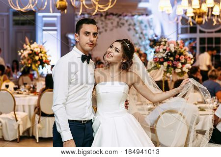 Bride And Groom In The Luxury Restaurant