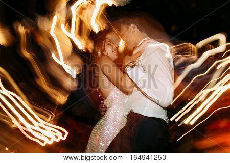 Couple Is Happily Dancing On The Wedding