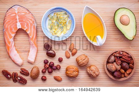 Selection Food Sources Of Omega 3 And Unsaturated Fats. Superfood High Vitamin E For Healthy Food. A