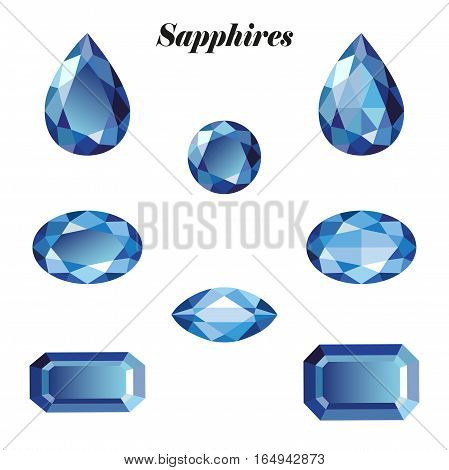 Sapphires set. Isolated objects on a white background vector illustration