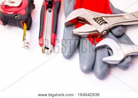 Many Tools on white background. top view