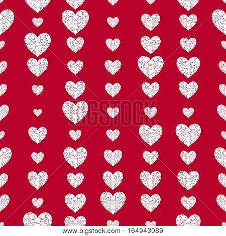 Pattern Of White Openwork Hearts On A Bright Red Background.