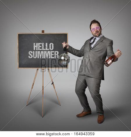 Win win text on  blackboard with drunk businessman