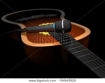 Acoustic six-string guitar and microphone on a dark background.