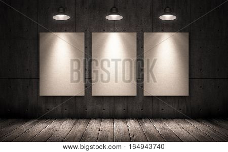 three posters hanging on the wall in the industrial interior. mock up. 3D illustration, big dark gloomy concrete room with posters lit by lamps