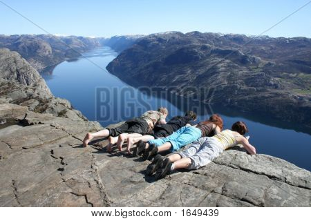 People Looking Down At Pulpit Rock