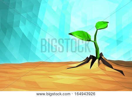 Ecology concept Rising sprout on dry ground, low poly natural background, 3d illustration