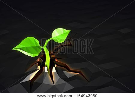 Ecology concept Sprout has grown through the asphalt, low poly, 3d illustration