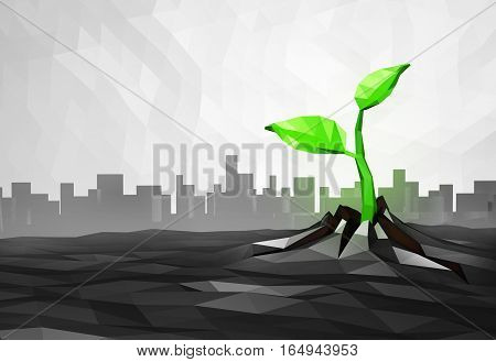 Ecology concept Sprout has grown through the asphalt in the city, low poly urban background, 3d illustration