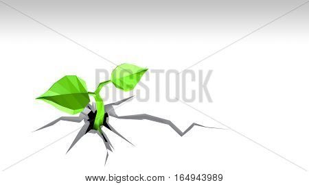Ecology concept Sprout has grown through the white background, low poly, 3D illustration, isolated on white background