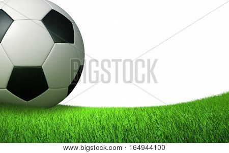 soccer ball close up on the lawn, sports backdrop, isolated on white background 3D illustration