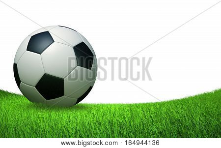 soccer ball close up on the turf, sports backdrop isolated on white background 3D illustration