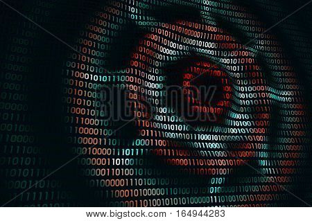 circular waves on abstract digital wall in cyberspace, binary technology background, 3d illustration
