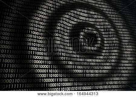 circular waves on abstract digital wall in cyberspace, binary technology golden background, 3d illustration