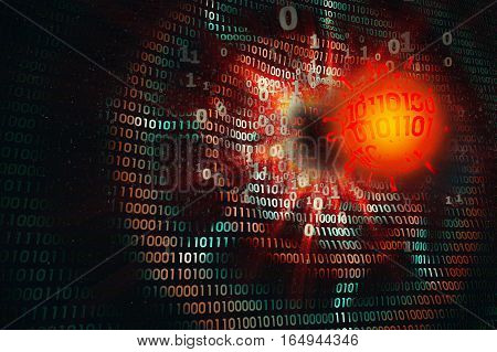 birth creating a computer virus, attack of virus on computer,  technological background with free space, 3d illustration