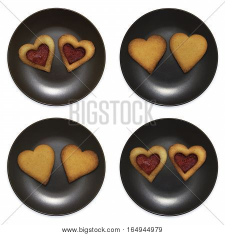 set of smiley in the form of plates with heart shaped cookies, isolated on white