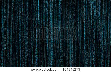 cyberspace with blue digital lines, binary hanging chain, abstract background