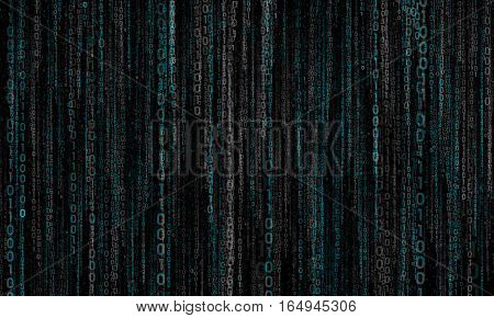 cyberspace with blue binary hanging chain, abstract background with gray - blue digital lines