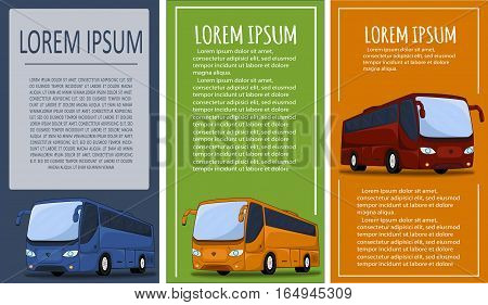 Tourist bus banner set vector illustration. Passenger bus flyer template, city transport concept, bus tour, country traveling.