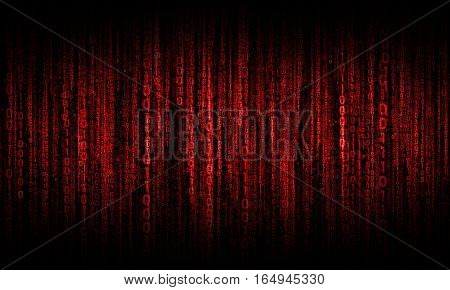 cyberspace with digital red lines, binary hanging chain, abstract background