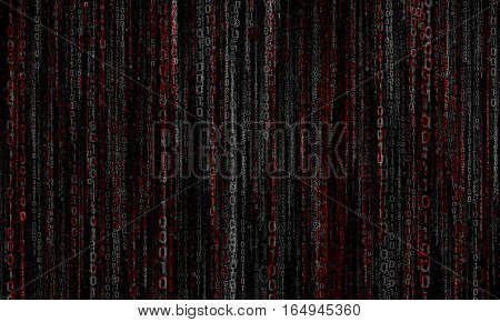 cyberspace with gray - red digital lines, binary hanging chain, abstract background