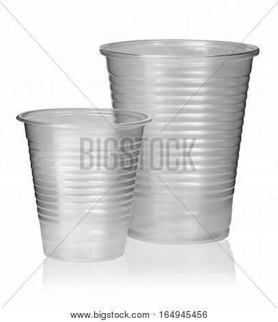 Two different plastic cups vertically isolated on white background