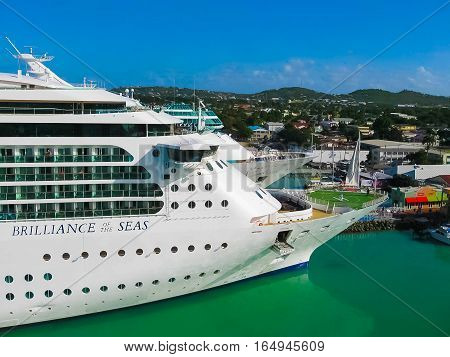 St. John's Antigua and Barbuda - February 07 2013: Cruise ship Brilliance of the Seas of Royal Caribbean International in port of St. John's Antigua on February 07 2013