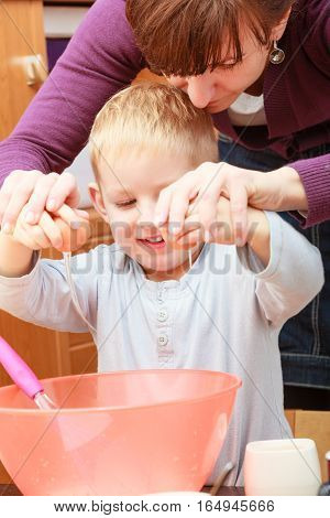 Little Kid And Mother Cooking, Making Cake In Bowl