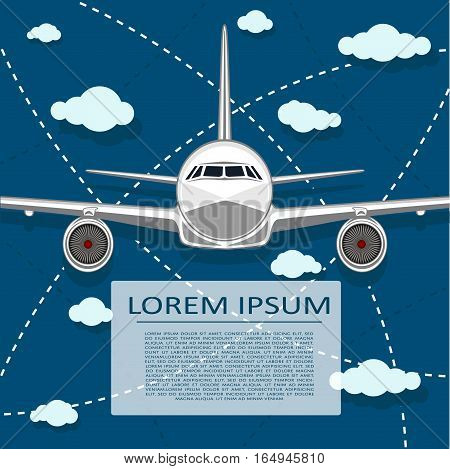 Passenger air transportation banner with plane vector illustration. Empty space for text. Aircraft transport, air cargo, commercial airline flyer design.