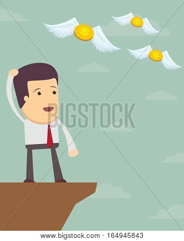 Businessman or manager. A sad man in a suit see off a flying away money. Illustration, vector