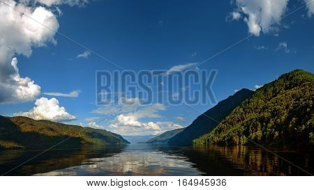 Teletskoye lake in Altay Russia nature reserve