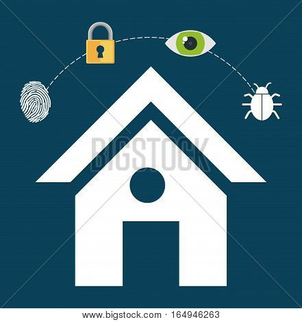 home security lock system vigilance fingerprint vector illustration eps 10