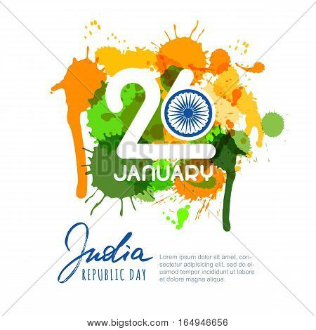 26 Of January, India Republic Day. Vector Design For Greeting Card, Holiday Banner, Flyer, Poster.