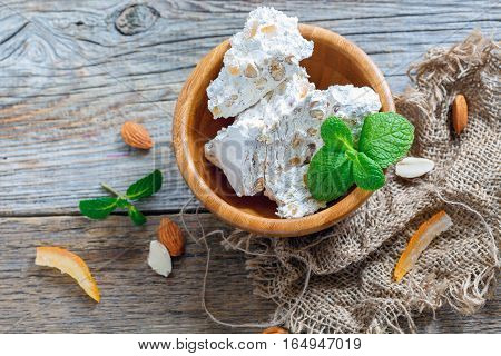Nougat With Candied Orange And Almonds.