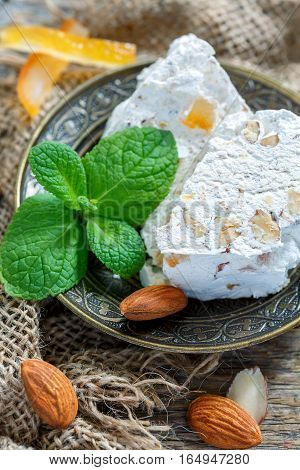 Fragrant Nougat With Almonds And Candied Orange.