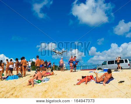 Philipsburg, Sint Maarten - February 10, 2013: The Beach At Maho Bay