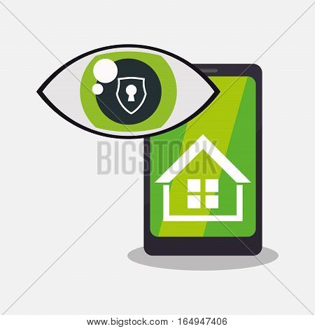 home security smartphone technology vigilance vector illustration eps 10