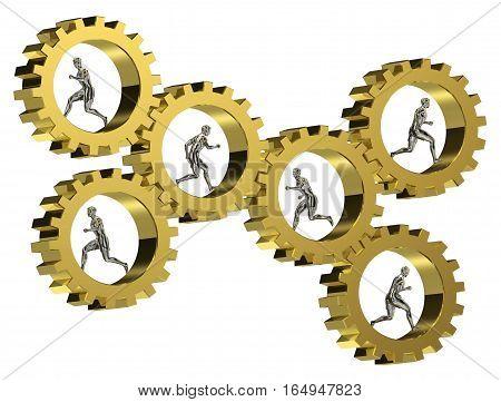 3D gear model running gear motion success group cooperative teamwork