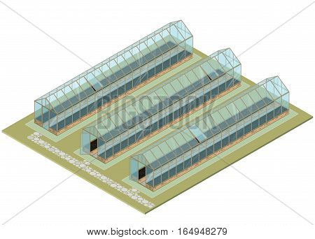 Isometric greenhouse with glass walls, foundations, gable roof, garden bed. Mass farm for growing plants. Vector Horticultural Conservatory for vegetables and flowers. Cultivate greenhouse gardening.