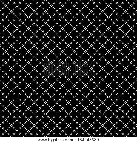 Vector seamless pattern, repeat monochrome geometric background. Black & white figures, simple dark ornamental texture. Illustration of diagonal lattice, stitches, thread. Design for tileable print